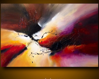 """Large abstract painting by Dan Bunea: """"The encounter"""", 80x120cm or 32x48in, acrylics on canvas, for sale"""