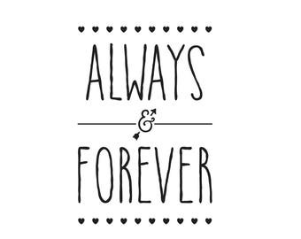 Always and Forever Iron On Patch, Love Applique, Words Patch, Naturally Chic, Words Applique, Cushion Patch, Embroidered Patch