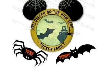 Halloween on the High Seas Family Porthole with Spider and Bat Names Disney Cruise Door Magnet