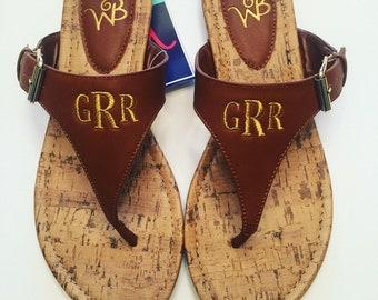 Brown Monogrammed Sandals