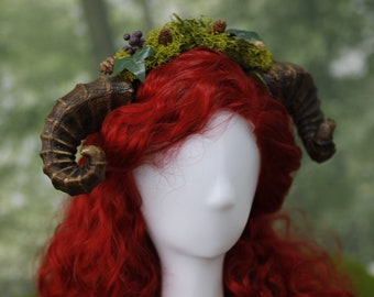 Faun Horns Headdress Druid Ram horn Headband woodland Cosplay Fairy Forest Elf