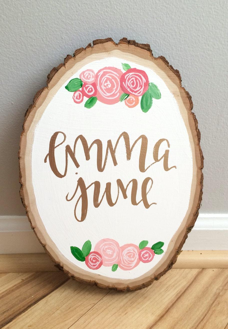 Custom Baby Name Wood Slice Custom Wood Slice Floral Wood