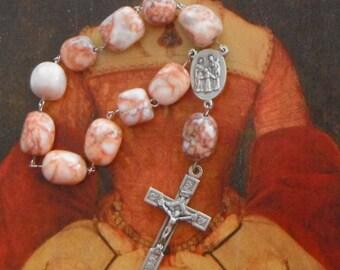 Redline Marble Chaplet *singlet,rosary,Catholic,Christian,prayer,travel,cross,single decade,devotion,Holy Family,tenner,crucifix,Lent,Easter