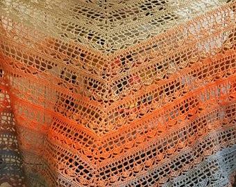 Handmade crochet shawl orange openwork ombre effect - free shipping!!