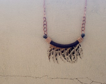 Feathered Fringe Necklace Tribal Statement, Natural Necklace, Bohemian Necklace