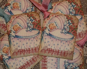 Vintage Baby Shower Favor Tags Gift Tags