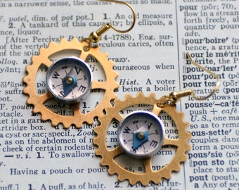Wearable Tech Mini Compass Earrings, Brass Gear Earrings, Steampunk Jewelry, Working Compass Moving Compass Industrial Geek Nerd Earrings