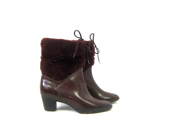 Vintage Dark Red Wine Rubber Rain Boots Faux Fur Rubber Waterproof Rainboots Furry Galoshes Retro Rubbers Women's Shoes Size 8