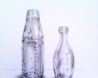 Pencil Drawing, Original Drawing by Lucy Beevor, Vintage Bottles