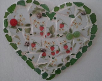 Strawberry Fields Tumbled Pottery and Sea Glass Mosaic