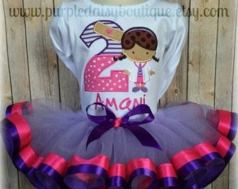 Little Doctor Birthday Double Ribbon Trim Tutu Outfit