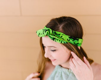 Tropisches Blatt Druck Haarknoten Stirnband Palm Leaf Druck Twist Stirnband Haarband, grün, Schwarz Baumwolle Bandana Sommer Boho Kopftuch