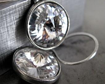 Pure II - Clear Crystal Earrings - Modern Rivoli Crystal Earrings, Antiqued Silver, Oxidized Silver Earring Hooks, Modern Bridal Jewelry