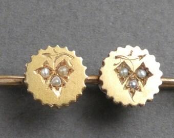 14K Pearl discs bar pin- Grapes motif