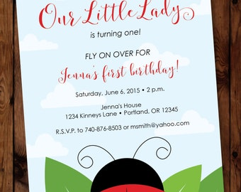 Little Lady Birthday Invitation, Ladybug Birthday Invitation,  Our Little Lady Birthday Invitation #001