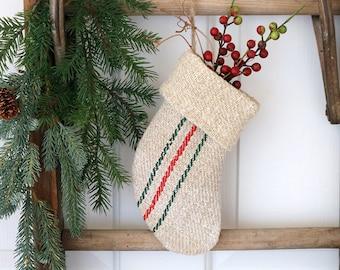 Petite Grain Sack Christmas Stocking, Red & Green Holiday Decor