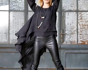 Black Tunic Women, Plus Size Tunic, Open Back Top, Avant Garde Clothing, Gothic Clothing, Oversized Black Tunic, Loose Tunic, Sheer Tunic
