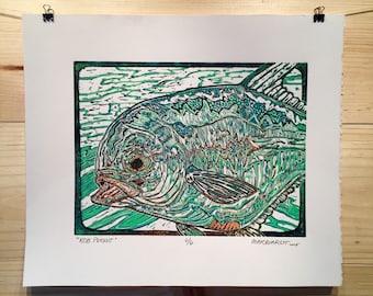 ORIGINAL Permit  fly fishing artwork reduction linocut print by Jonathan Marquardt of BadAxeDesign