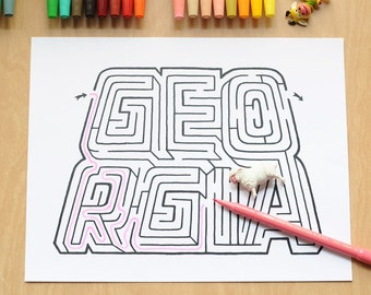 GEORGIA Name Maze / Instant DOWNLOAD Printable PDF / Personalized Activity for All Ages / Hand-drawn