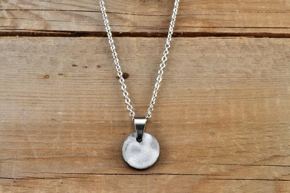 SMALL matte white round stoneware pendant
