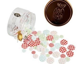 Love+Lemon Jar of Gingham Buttons, 125 pieces