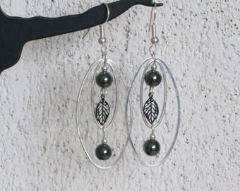 Earrings, stones hematite, leaves or feathers, oval beads silver