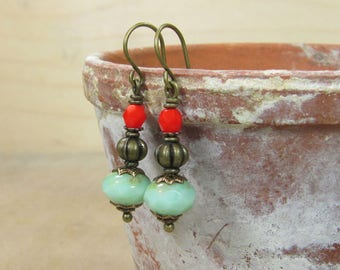 Earrings Orient Express small earrings bronze ethno nostalgic vintage style glass beads red coral coral Mint green nostalgic