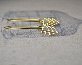 Gold Geometric Earrings, Triangle Dangle Earrings, Gold Chevron Earrings, Arrow Jewelry, Gold Vermeil Earrings, Gift for Mum, Birthday Gift