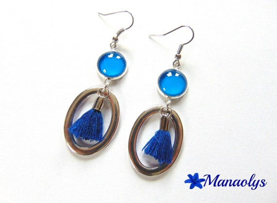 Earrings blue glass cabochons, oval pendants blue PomPoms 2539