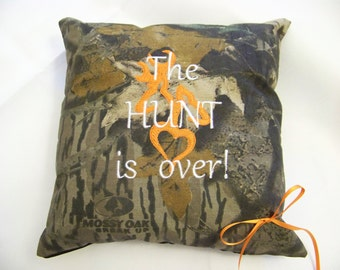 """Mossy Oak  ring bearer pillow  """"The Hunt is Over"""" Wedding or home decor"""