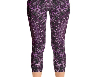 Capris, Graphic Print Workout Pants, Hooping Leggings, Performance Wear, Festival Clothing