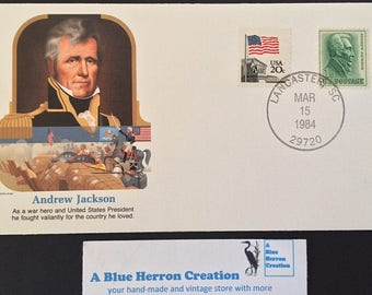 Vintage Andrew Jackson Stamp, The Greatest Military Heroes of America, Fleetwood Cachet, 1984, Commemorative Military Hero President Stamp