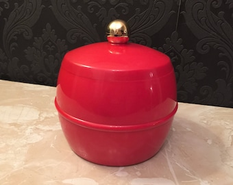 Vintage bright scarlet red insulex ice bucket with round gold handle 1970's