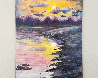 Mini Watercolor Painting on panel 'Evanescent' sunrise sunset mountain water night