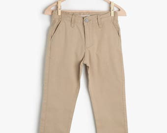 Trousers beige for boy, cotton