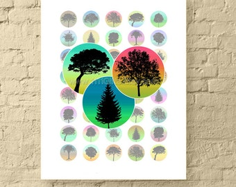 1 Inch Circle Digital Downloads / Assorted Colored Trees / 1 Inch Round Digital Images / 1 Inch Printable Collage Sheet for Jewelry & Crafts