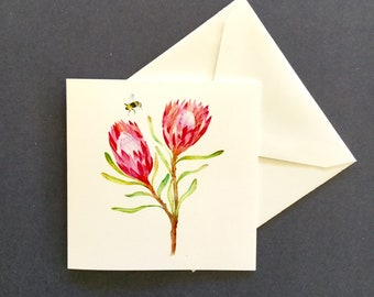 Protea card, Greeting card, anniversary card, mothers day, watercolour illustration, botanical art
