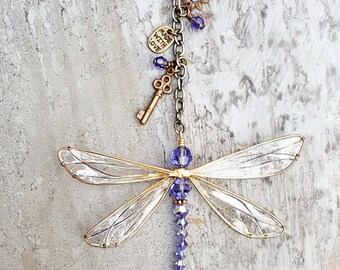 Sun Catcher Dragonfly Window Hanging with Swarovski Crystals, 5 Beautiful Colors! Handcrafted Gift, Car Charm, Forget Me Not, Ornament