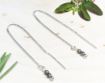 Iron Pyrite Sterling Silver 22 Gauge Threader Box Chain Earrings