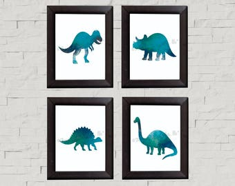 Dinosaur Watercolor Wall Art