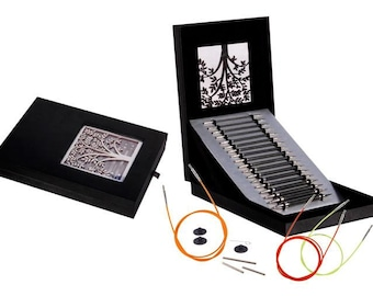 """Knitter's Pride - Karbonz - 4.5"""" Interchangeable Needle Gift Set In Faux Leather Box Of Joy"""
