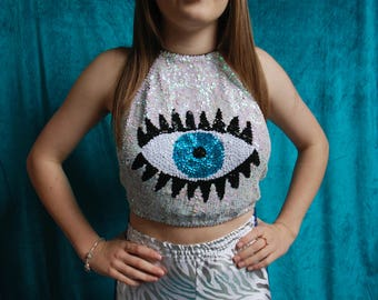 White iridescent eye sequin halter neck top - fairylove