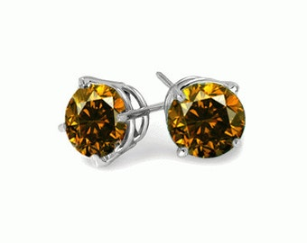 cognac diamond sterling silver stud earrings