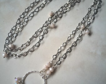 Chain hearts and crystals.