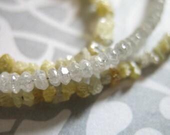 5 pcs, White DIAMOND Beads, Diamond RONDELLES, Luxe AAA, 1.5-2 mm, white silver gray brides bridal april birthstone drw 20