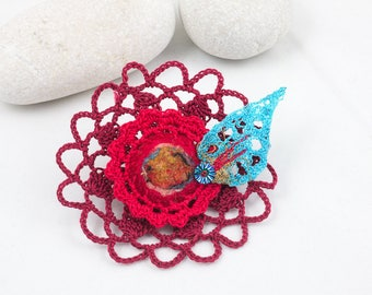 Textile brooch-Crochet lace brooch, Red-Turquoise embroidery leaf
