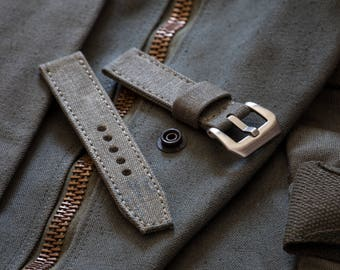 Vintage Olive Drab Military Canvas Watch Strap in 20mm, 22mm, 24mm Sizes