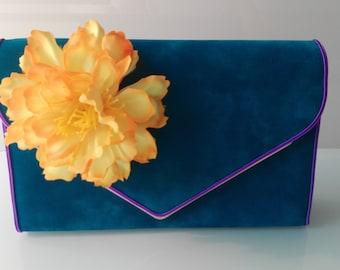 "Bag Torebka handbag ""Summer Dream"" Flowers Kwiaty flower Turquoise Turkusowy Turquoise"
