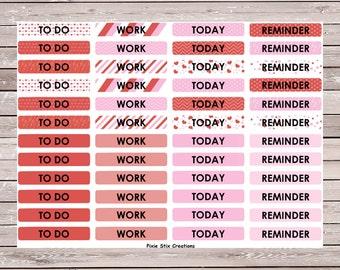 Valentine's Day To Do M/D/N Header Set of 48 Planner Stickers Erin Condren Planner Stickers, Eclp, Filofax, Kikki K, Mambi