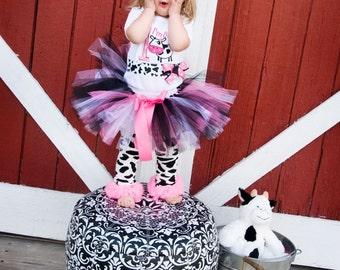 PINK AND BLACK birthday tutu, newborn tutu, baby tutu, photography prop, matching headband included